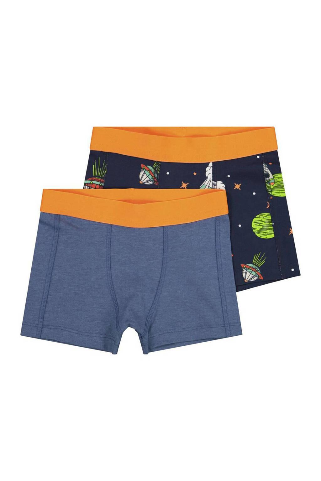 HEMA   boxershort - set van 2 space blauw, Blauw