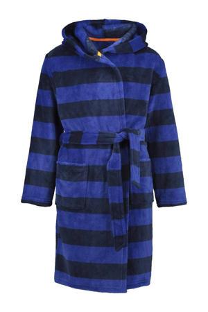 fleece badjas streep blauw