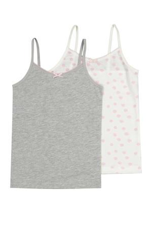 hemd - set van 2 grijs/wit/roze