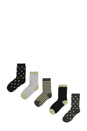 sokken - set van 5 zwart/goud