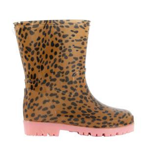 regenlaarzen met dierenprint bruin/roze