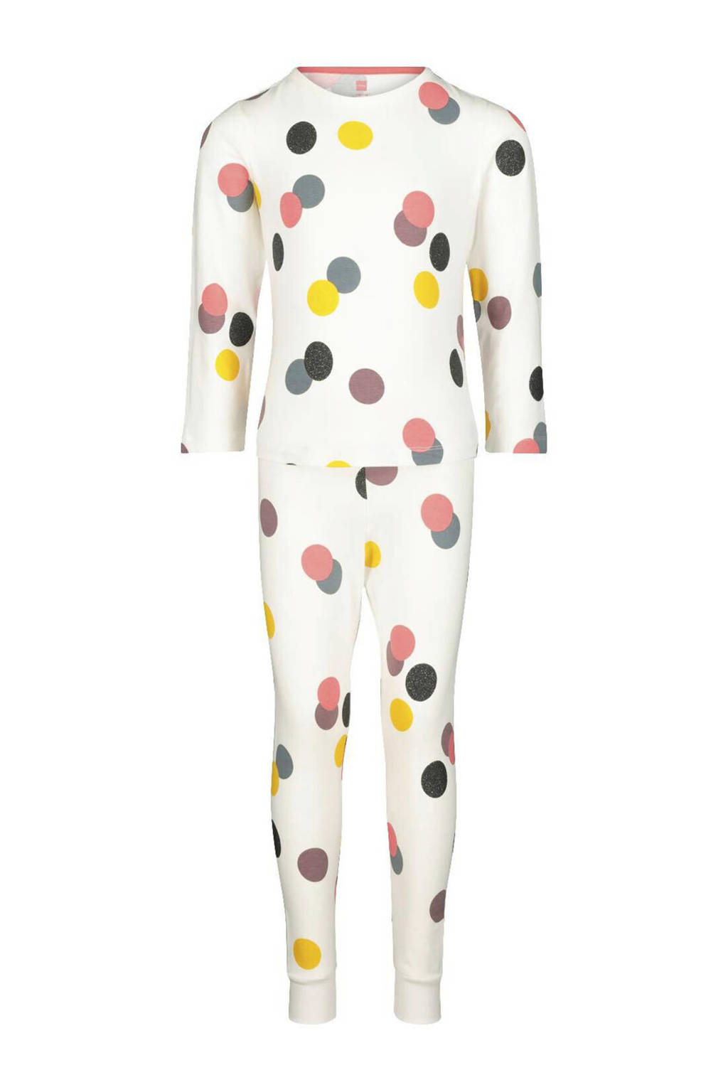 HEMA pyjama stip ecru/roze/geel, Gebroken wit/geel/roze
