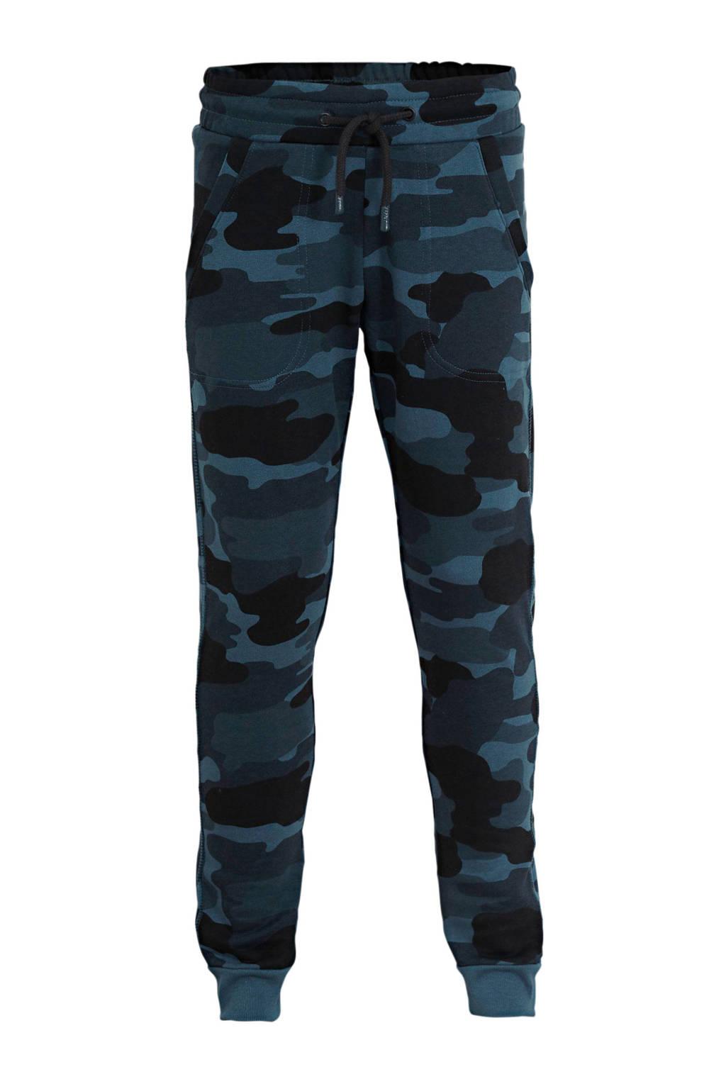HEMA regular fit broek met camouflageprint donkerblauw, Donkerblauw
