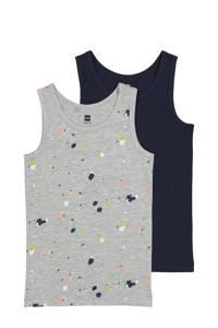 HEMA hemd - set van 2 all over print grijs, Grijsmelange