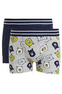 HEMA   boxershort - set van 2 blauw/grijs, Donkerblauw/grijs