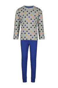 HEMA   pyjama kruisprint grijs/blauw, Blauw