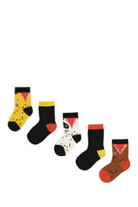 HEMA sokken - set van 5 geel/zwart/bruin, Multi