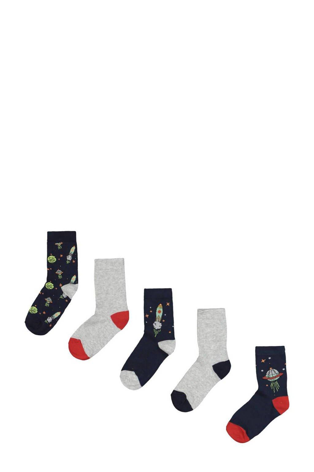 HEMA sokken - set van 5 donkerblauw/grijs, Donkerblauw/grijs