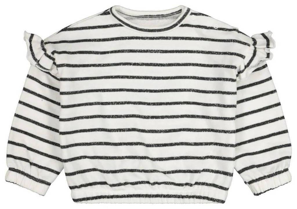 HEMA gestreepte fijngebreide trui gebroken wit/donkerblauw