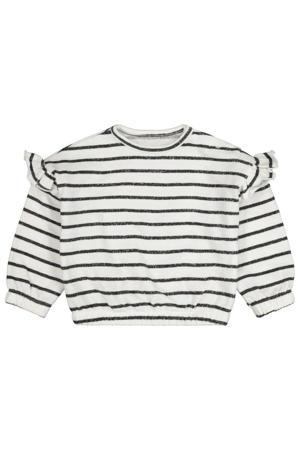 gestreepte fijngebreide trui gebroken wit/donkerblauw