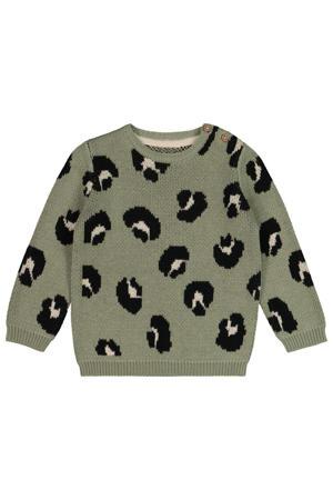 baby gebreide trui met all over print grijsgroen