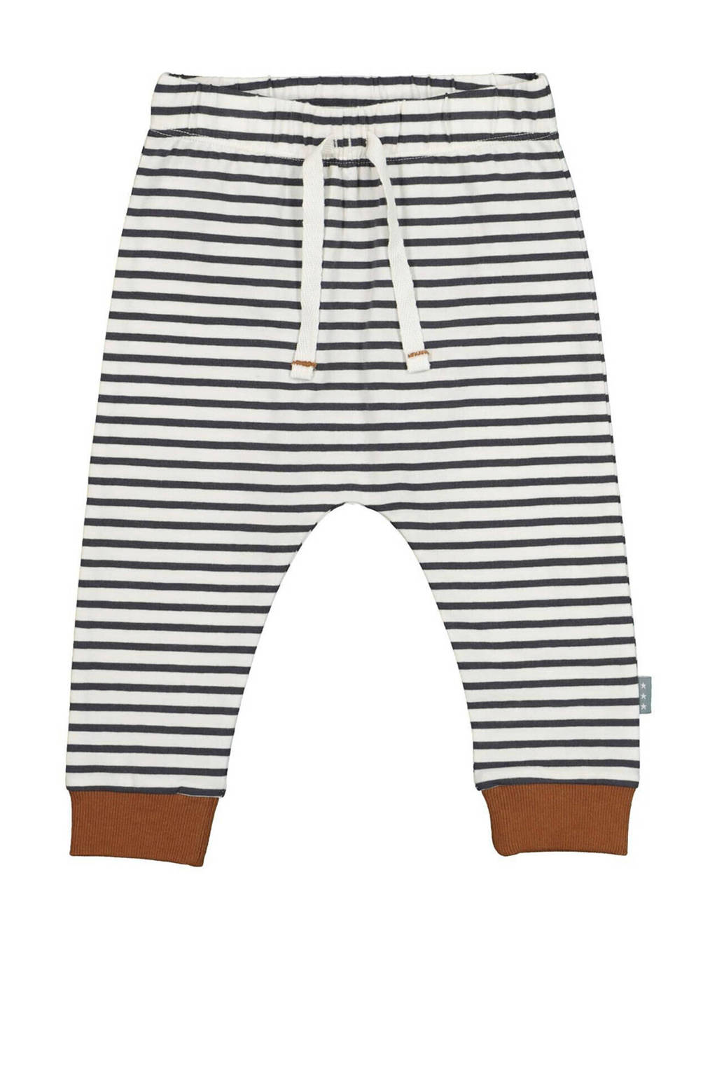 HEMA gestreepte regular fit broek met biologisch katoen donkerblauw/wit, Donkerblauw/wit