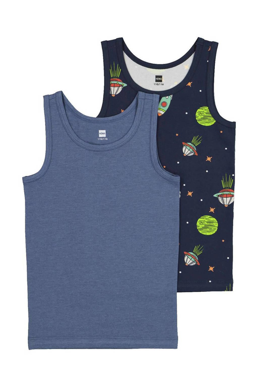 HEMA hemd - set van 2 space blauw, Blauw