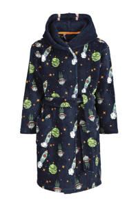 HEMA   fleece badjas met all over print donkerblauw, Donkerblauw