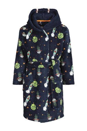 fleece badjas met all over print donkerblauw