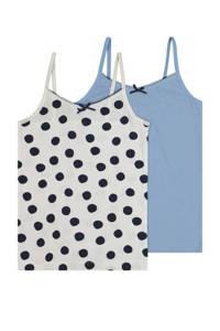 HEMA hemd - set van 2 blauw/ecru, Blauw/ecru