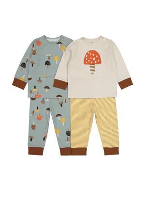 pyjama - set van 2 all over print grijsgroen/ecru