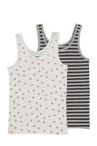 HEMA hemd - set van 2 all over print wit/zwart, Wit/zwart