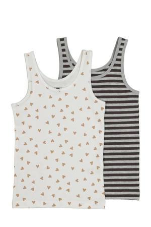 hemd - set van 2 all over print wit/zwart