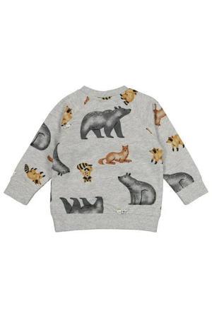 sweater met dierenprint grijs