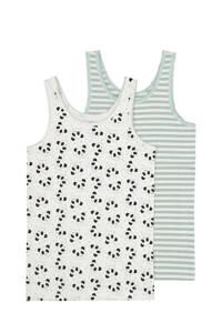 HEMA hemd - set van 2 dierenprint wit/grijs, Grijs