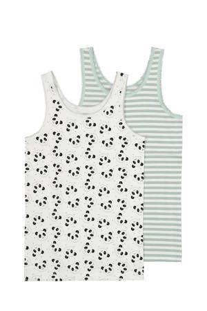 hemd - set van 2 dierenprint wit/grijs