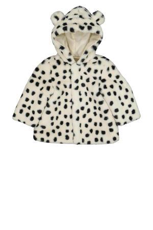baby imitatiebont winterjas met dierenprint gebroken wit/zwart