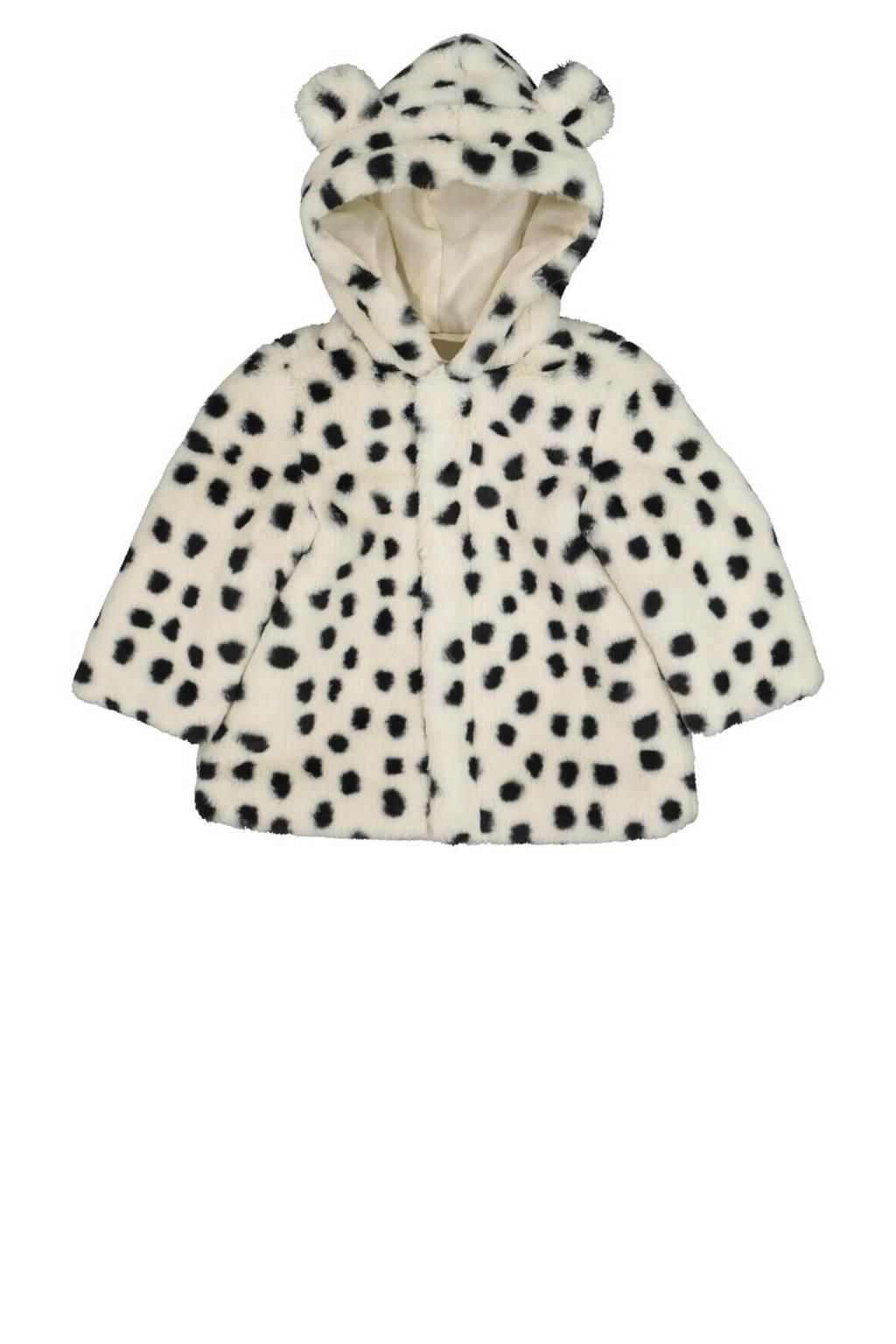 HEMA imitatiebont winterjas met dierenprint gebroken wit/zwart, Gebroken wit/Zwart