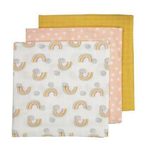 hydrofiel luier - set van 3 60 x 60 cm roze/geel