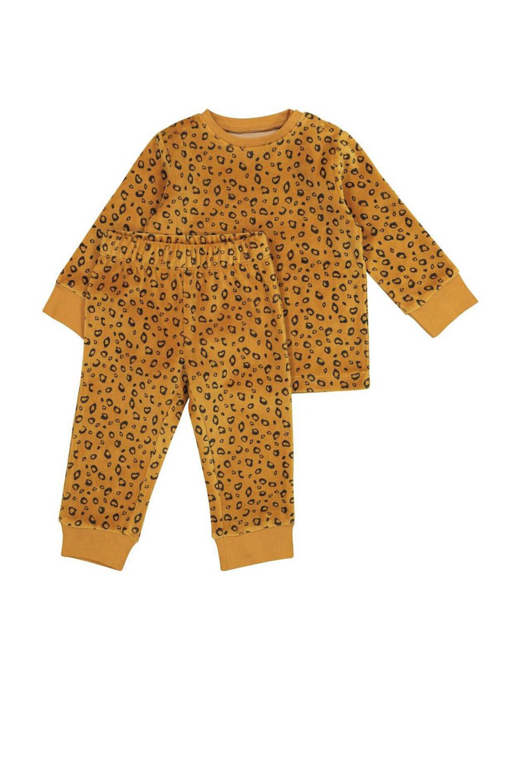 HEMA   velours pyjama all over print bruin/zwart, Bruin