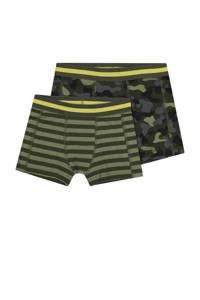 HEMA   boxershort - set van 2 streep/camouflage groen, Groen