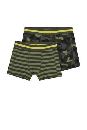 boxershort - set van 2 streep/camouflage groen