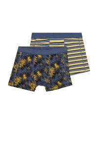 HEMA   boxershort - set van 2 all over print blauw, Zwart