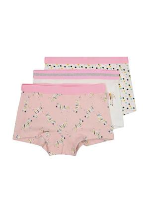 short - set van 3 all over print roze/wit