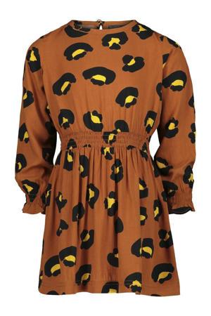 A-lijn jurk met all over print bruin/zwart/geel