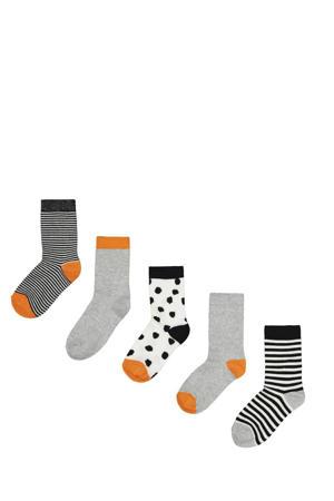 sokken - set van 5 grijs/oranje