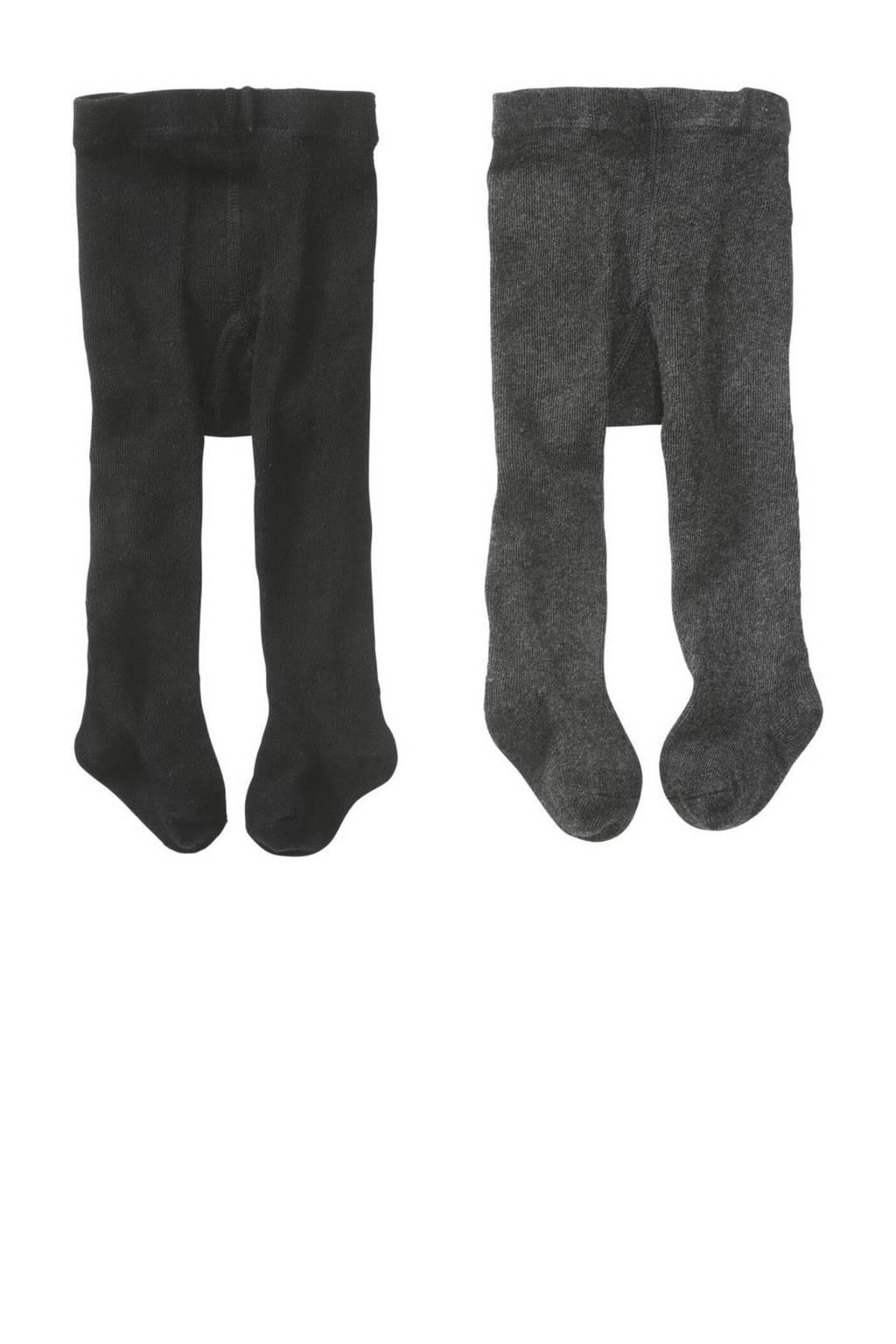 HEMA maillot - set van 2 zwart/grijs, Zwart/grijsmelange