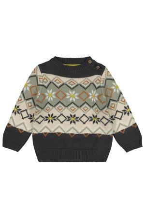 gebreide trui met all over print antraciet/groen/beige