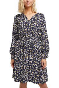 edc Women jurk met all over print en plooien donkerblauw/wit/geel, Donkerblauw/wit/geel