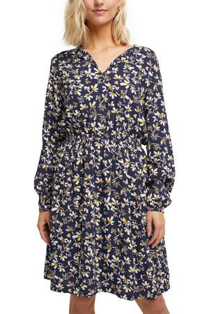 jurk met all over print en plooien donkerblauw/wit/geel