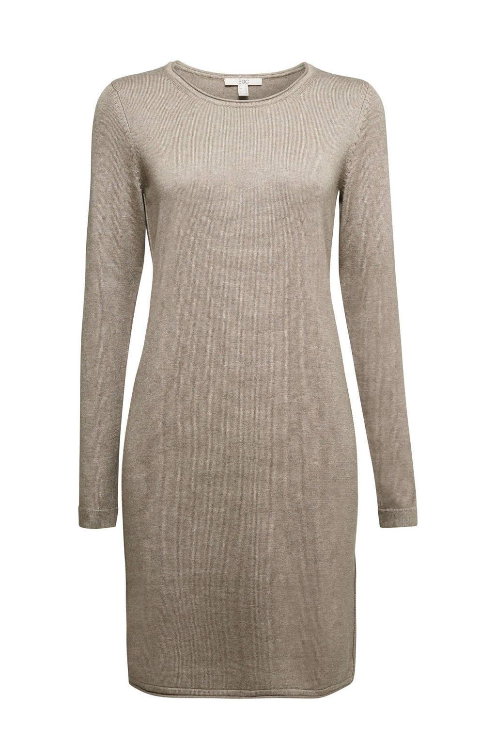 edc Women fijngebreide jurk zand, Zand