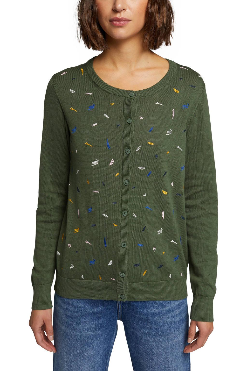 edc Women vest met printopdruk en borduursels donkergroen/wit/blauw, Donkergroen/wit/blauw