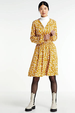 blousejurk met all over print en plooien geel/wit/lichtroze
