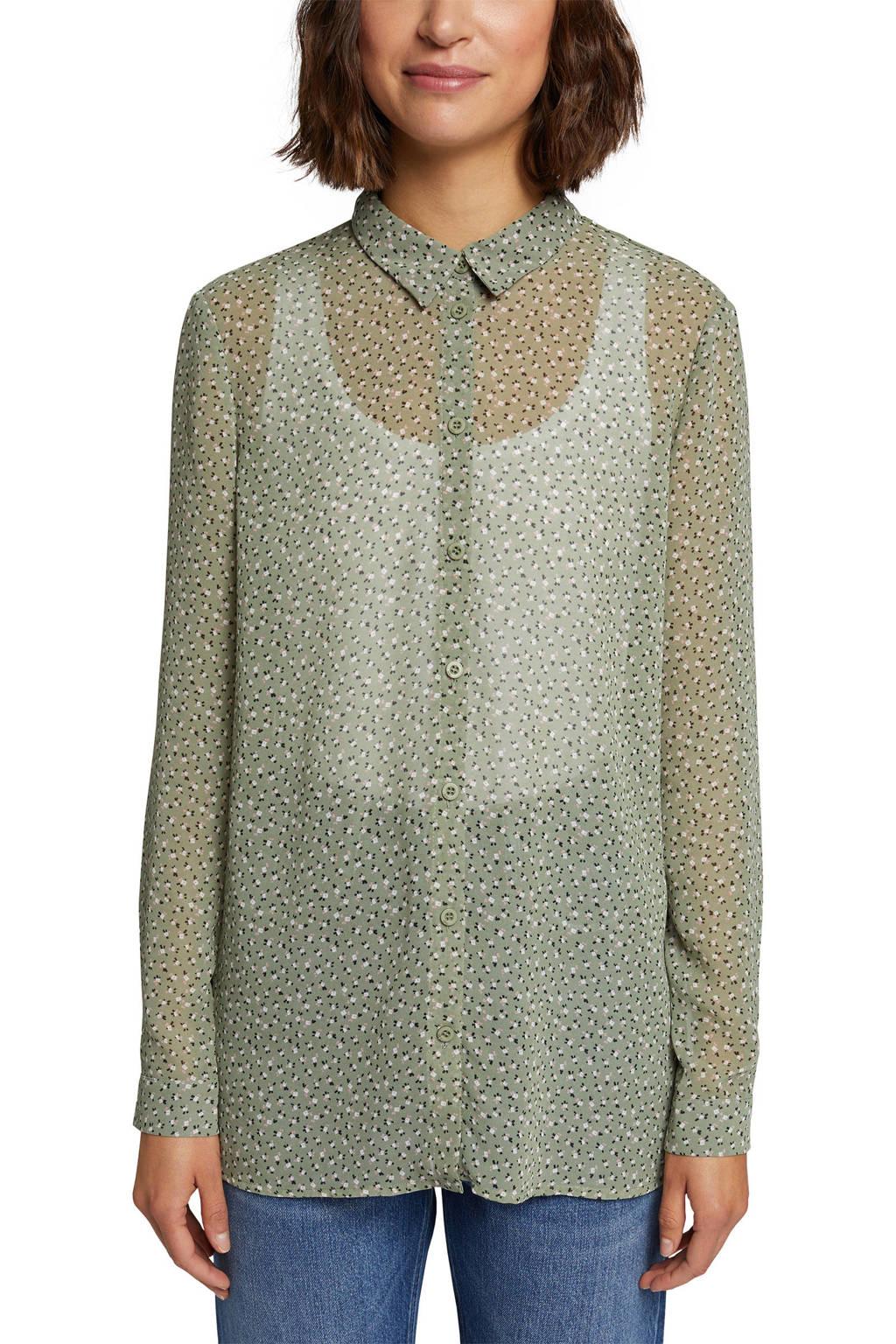 edc Women gebloemde semi-transparante blouse lichtgroen/wit/lichtroze, Lichtgroen/wit/lichtroze