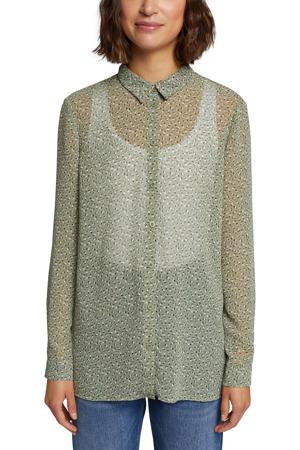 gebloemde semi-transparante blouse lichtgroen/wit/lichtroze