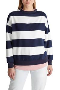 edc Women gestreepte sweater donkerblauw/wit/lichtroze, Donkerblauw/wit/lichtroze
