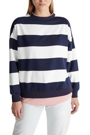 gestreepte sweater donkerblauw/wit/lichtroze