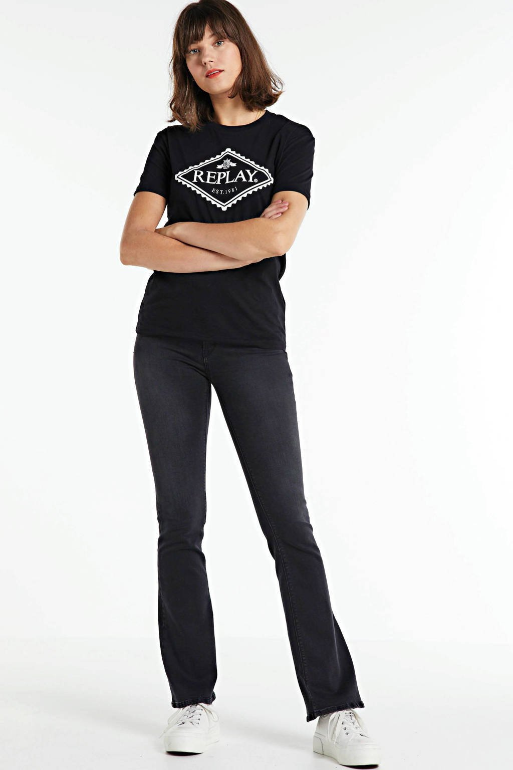 REPLAY flared jeans New Luz donkergrijs, Donkergrijs