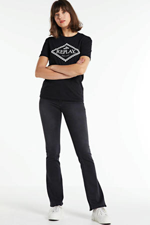 flared jeans New Luz donkergrijs