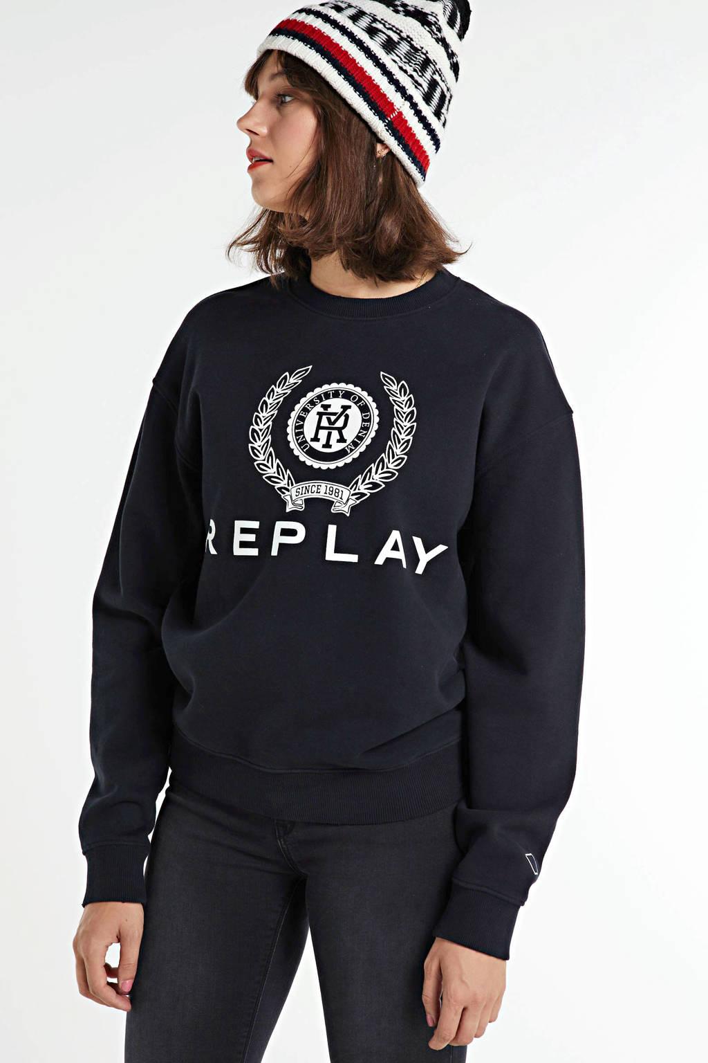 REPLAY sweater met logo off black, Zwart